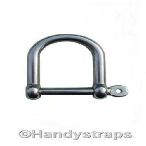 Dee Shackles D Shackle 12mm Wide Stainless Steel Marine Grade Handy Straps