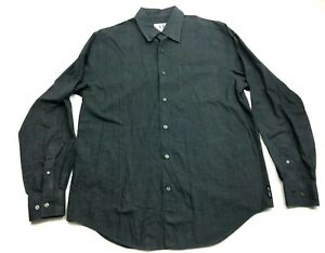Armani-Exchange-Mens-Gray-Long-Sleeve-Front-Pocket-Shirt-Size-Medium