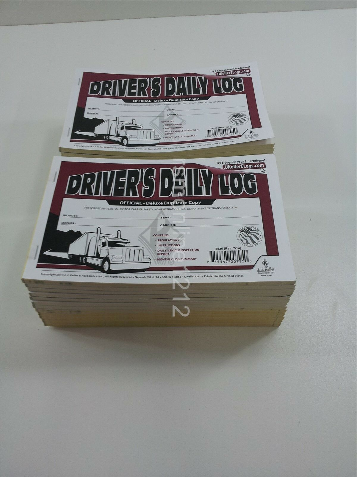 Lot of 25 JJ Keller 601LD Driver's Daily Log Book w Detailed DVIR 2-Ply w Carbon