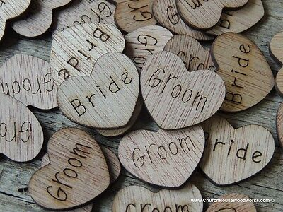 "100 qty 1/"" It/'s A Boy Wood Hearts Table Confetti Wooden Wedding Decor"