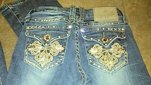 L-A-Idol-Womens-Bootcut-Flap-Pockets-Rhinestone-Bling-Embellished-Jeans-Size-26