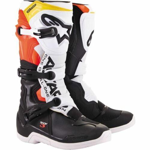 Black//White//Flo Red//Yellow Sz 13 Alpinestars Tech 3 Boots