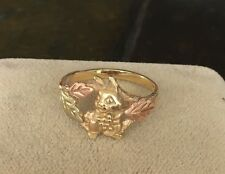 Black Hills Gold Bunny Rabbit Ring-Rose, Green, and Yellow-Adorable and Rare!
