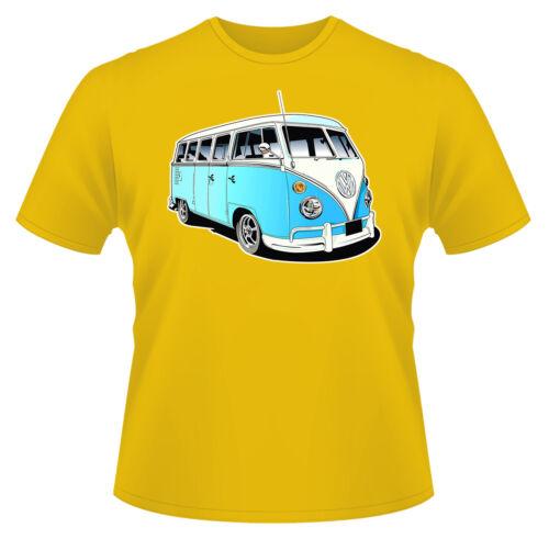 VW Camper Van Blue T-Shirt Boys Girls Kids Age 3-15 Ideal Gift//Present