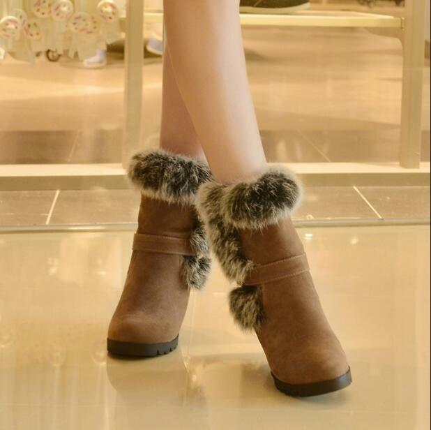 New fashion Womens Fur Trim Hidden Wedge Heel Ankle Boots Faux Suede shoes b88