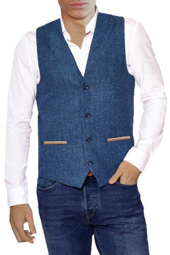 Marc Darcy Mens Navy Herringbone Tweed Check Designer Smart Formal Waistcoat