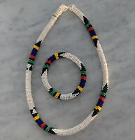 South African Hand-made Genuine Beaded Africa Necklace And Bracelet Set