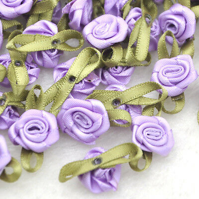 100pcs Satin Ribbon Flowers Rose Wedding Decor Sewing Appliques DIY Craft A039