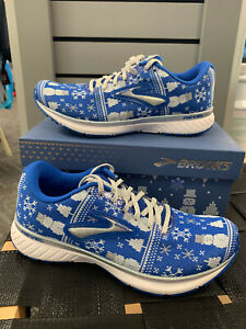 Details about Brooks Women's Revel 3 Run Merry Ugly Christmas Sweater Running Shoes BLUE