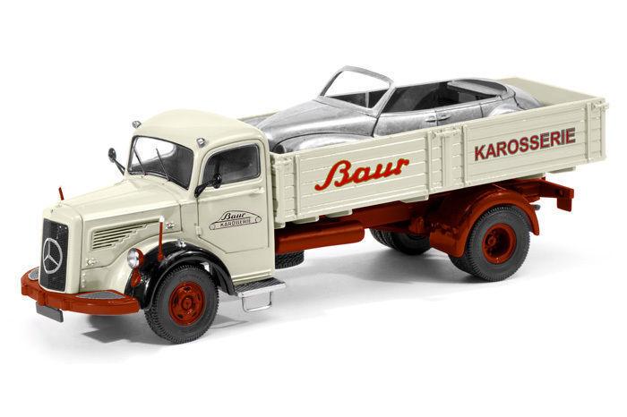 Schuco Mercedes-Benz l6600  karosseriewerk Baur  + BMW 501 rohkarosse 1 43