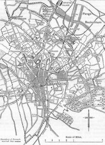 Croydon. Carte De Croydon Et Environs 1888 Old Antique Vintage Plan Graphique-afficher Le Titre D'origine