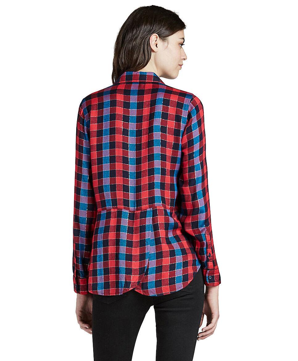 Lucky Brand - Damen XL - Nwt - Rot Kariert Rücken Überzug Flanell Twill-Shirt