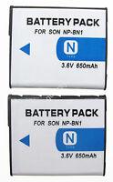 2 Battery For Sony Cyber-shot Dsc-w350 Dsc-w360 Dsc-w380 Dsc-w390 Digital Camera