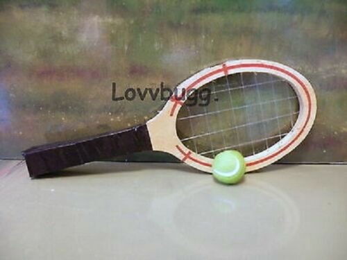 Realistic Wood Tennis Racket for American Girl or Wellie Wishers Doll Accessory