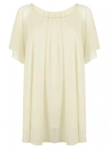 Bnwt Womens Mesh Lined Tunic Angel  Sleeve Top Cream Plus Size Ladies *LICK*