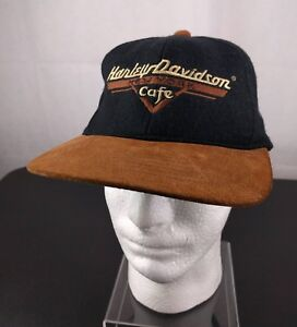 VTG Harley Davidson New York Cafe Black Snapback Hat Ball Cap Ride ... 25b88cc6f8fd