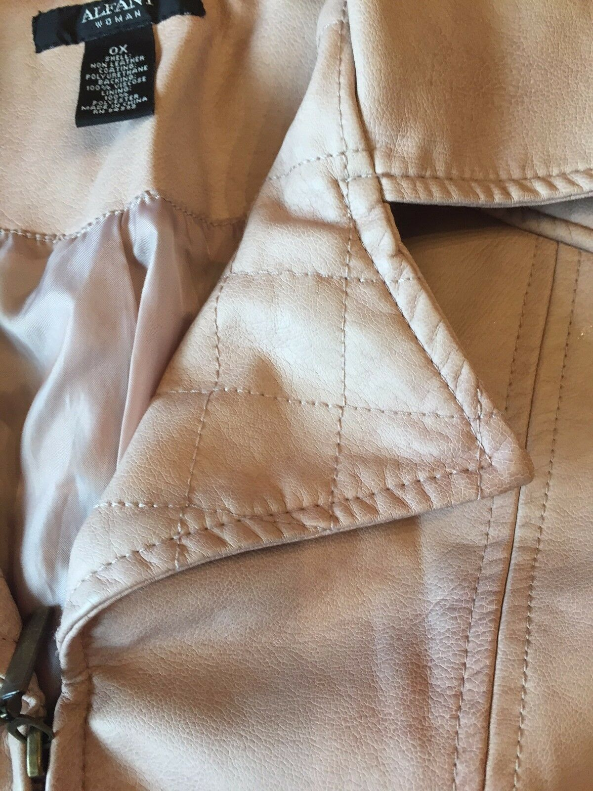 NWT aALFANI MOTORCYCLE FAUX PINK LEATHER - 0X 0X 0X - RTL  119.95 - QUILTED ONE - WOW c82a2b