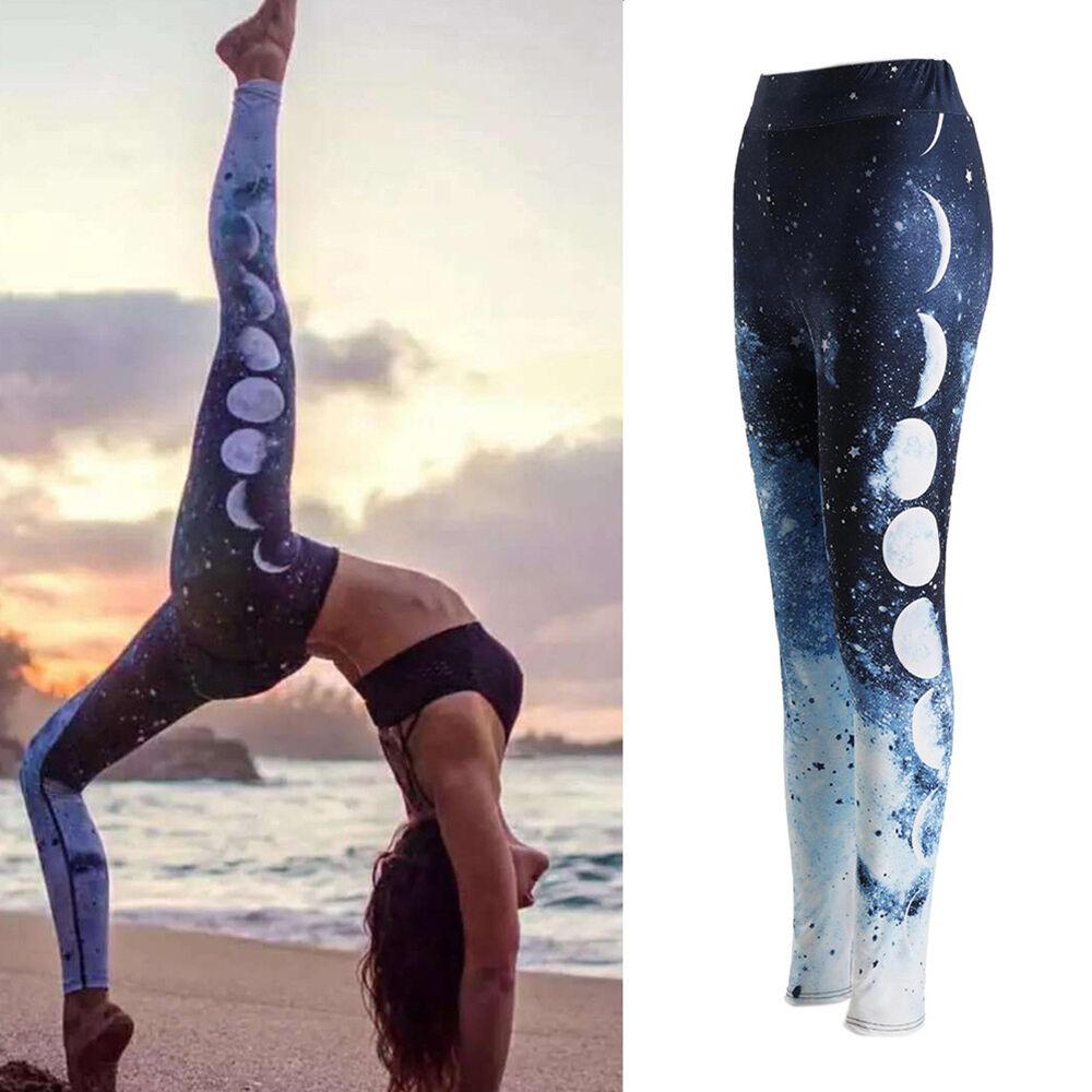 Eg _ Damen Mond Muster Yoga Fitness Leggings Joggen Fitness Sport Hose Hosen H