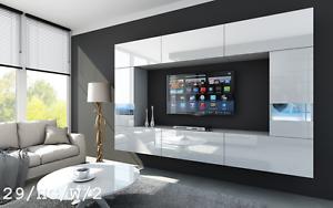 Moderne Wohnwand FUTURE 29 Hochglanz TV-Schrank LED Beleuchtung ...