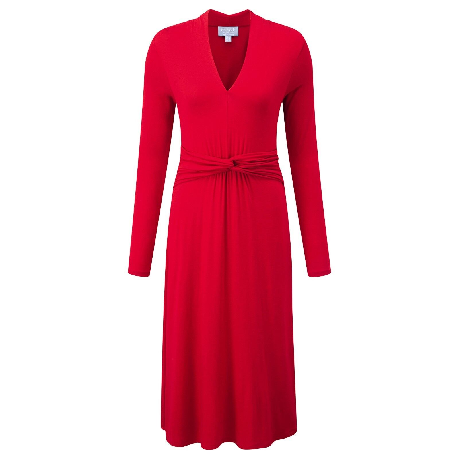 Pure Collection Gatherot Jersey Dress - Scarlet -