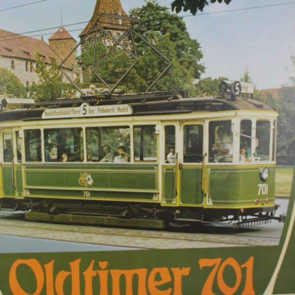 Plakat Straßenbahn Antik Nürnberg Oldtimer 701 Eisenbahn Baujahr 1913 Tram VAG