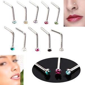 10pcs-Crystal-Rhinestone-Stainless-Steel-Body-Piercing-Nose-Screw-Ring-Bone-Stud