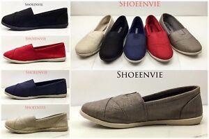 Soda-Obji-Flat-Women-Shoes-Linen-Canvas-Slip-on-Loafers-Memory-Foam-Gel