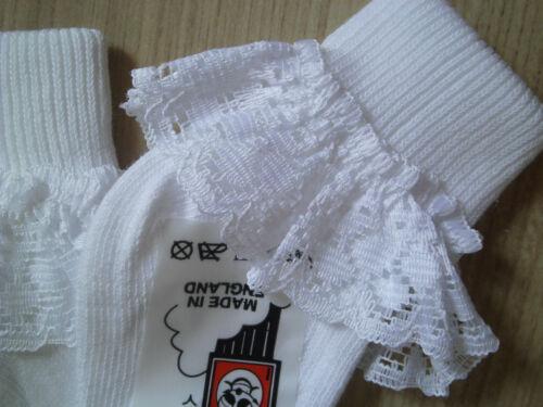 Bebé Blanco Calcetines de Tobillo Rosa Encaje Con Volantes Bautizo Boda Muñeca de 0-0-2.5 3-5.5