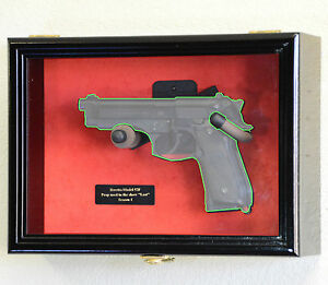 1 Single Pistol Handgun Revolver Gun Cabinet Display Case Wall Rack Box Replica