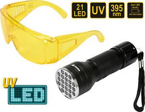UV-21-LED-Taschenlampe-395nm-Schwarzlicht-Handlampe-inkl-UV-Schutzbrille
