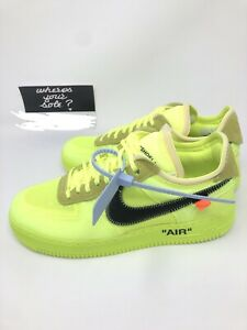 Details about Nike Off White The Ten: Air Force 1 Low Volt size 8.5 New DS A04606 700 Virgil