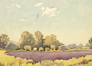 Mid-20th-Century-Watercolour-Purple-Fields