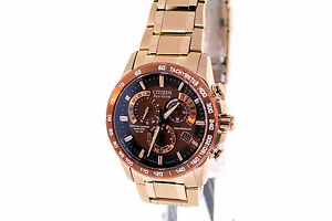 Men-039-s-Citizen-AT4106-52X-Eco-Drive-Perpetual-Chrono-A-T-Rose-Gold-Tone-Watch