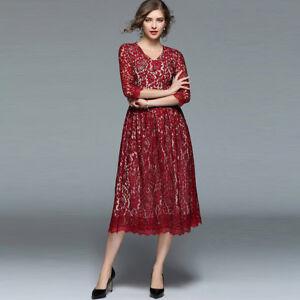 check out 791fa 04c82 Dettagli su Elegante vestito abito lungo rosso maniche scampanato slim  morbido 4223