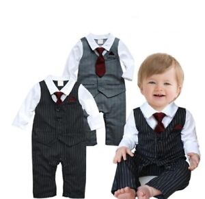 Baby-Boy-Wedding-Christening-Tuxedo-Suits-Dressy-Party-Romper-Outfit-Clothes