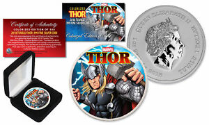 2018 1 oz Pure Silver BU Tuvalu Marvel Comics THOR Coin Colorized Limited of 500