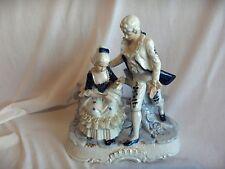Vintage Blue On White Porcelain Figurine Man Woman 18th Cent Couple Lace  NICE