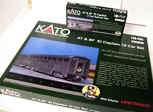 KATO-106-084-106-7117-N-Sante-Fe-El-Capitan-12-Car-SET-w-Display-Unitrack
