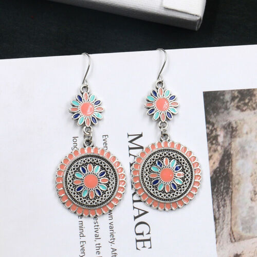Fashion Flower Drop Dangle Pendant Earrings Ethnic Style Ear Women Jewelry BM