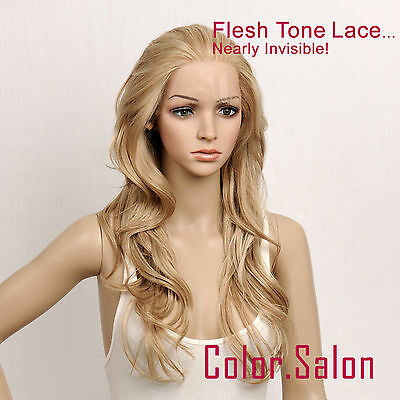 Hand-Tied Flesh Lace Front Synthetic Wigs Glueless Mixed Blonde 92#613M27(F)