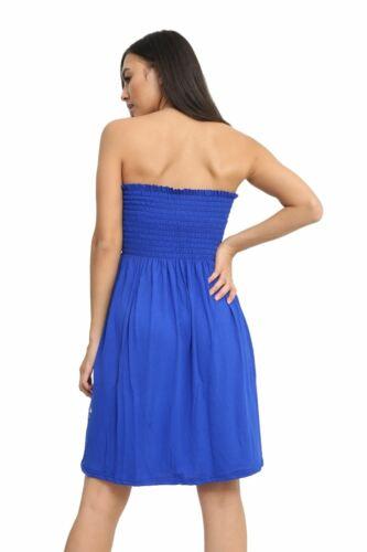 Womens Sheering Boob Tube Gather Bandeau Top Plus Size Shirred Mini Dress