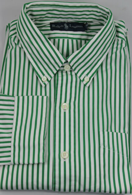 Polo Ralph Lauren Button Front Mens Shirt Large Cotton Green Stripe