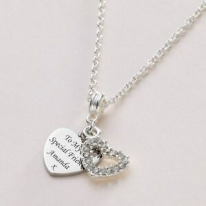 Engraved necklace heart with beautiful crystal heart personalised image is loading engraved necklace heart with beautiful crystal heart personalised aloadofball Choice Image