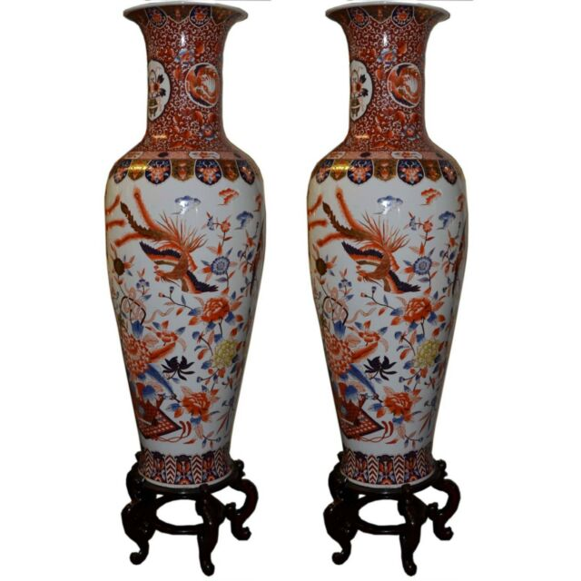 Pairchinese Porcelain Vases 6ft Hand Painted Gilded With Display
