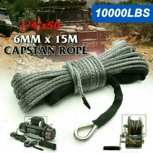 """1/4""""x50' 10000LBS Synthetic Winch Rope Line Recovery Cable 4WD ATV UTV w/ Sheath"""