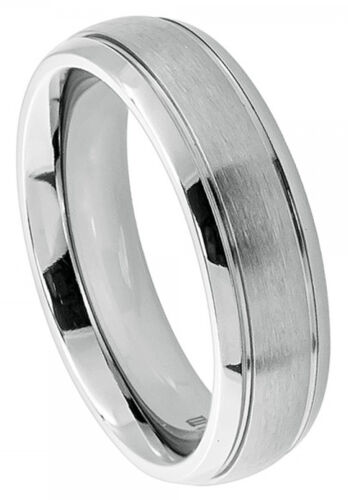 6mm Titanium Ring Men Women Wedding Band Domed Brushed Center Ridged Edge