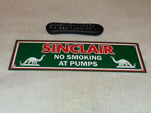 VINTAGE-SINCLAIR-NO-SMOKING-AT-PUMPS-DINO-16-034-PORCELAIN-METAL-GASOLINE-OIL-SIGN