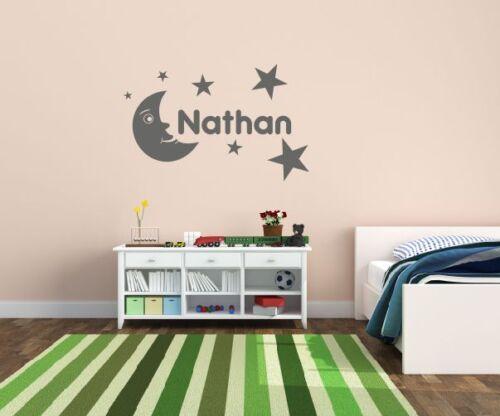 Personalised Moon stars /& Name wall art sticker all kid names Boys//Girls Nursery