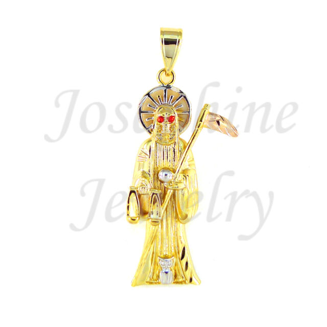 14k gold plated red eye grim reaper angel of death santa muerte 3 14k gold plated red eye grim reaper angel of death santa muerte 3 tone pendant mozeypictures Images