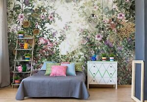 Details About Wall Mural Flowers Easy To Install Photo Wallpaper Floral Decor Vintage Painting